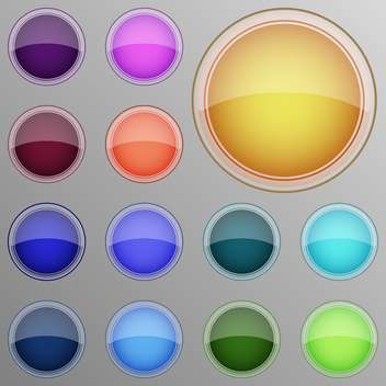Vector set of colorful web buttons on grey background - vector gratuit #126293