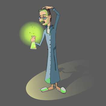 Vector illustration of chemist with flask in hand on grey background - Free vector #126313