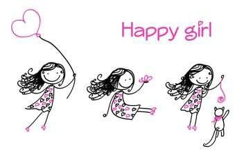 Vector illustration of cute happy girls in black and pink colors on white background - vector gratuit #126323