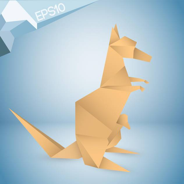 Vector Illustration Of Origami Paper Kangaroo On Blue Background