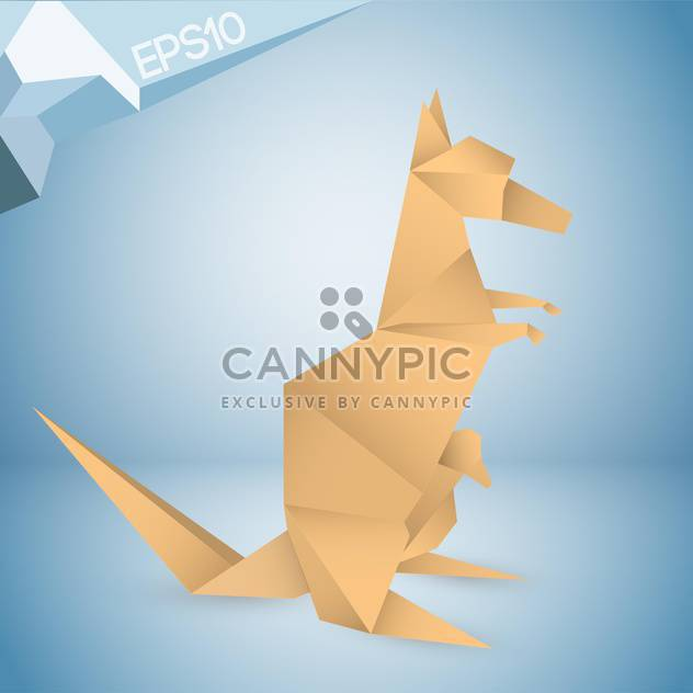 Vector illustration of origami paper kangaroo on blue background - бесплатный vector #126333