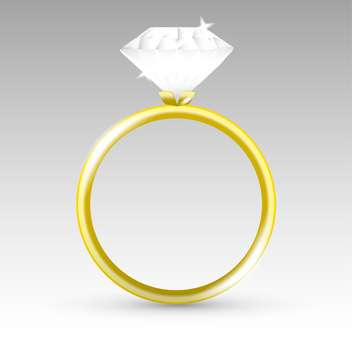 Vector gold ring with white diamond on grey background - Free vector #126353
