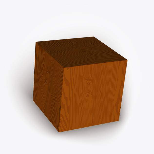 Vector illustration of wooden brown box on white background - Free vector #126363