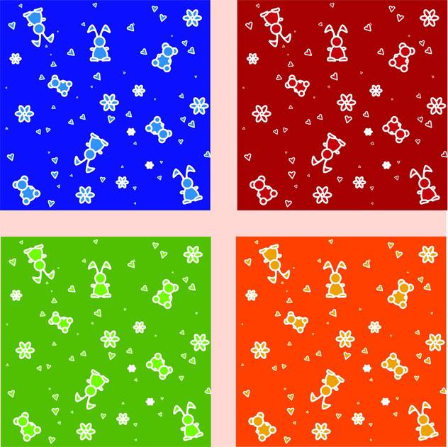 Vector set of colorful backgrounds with cute repeat toys - vector gratuit #126383