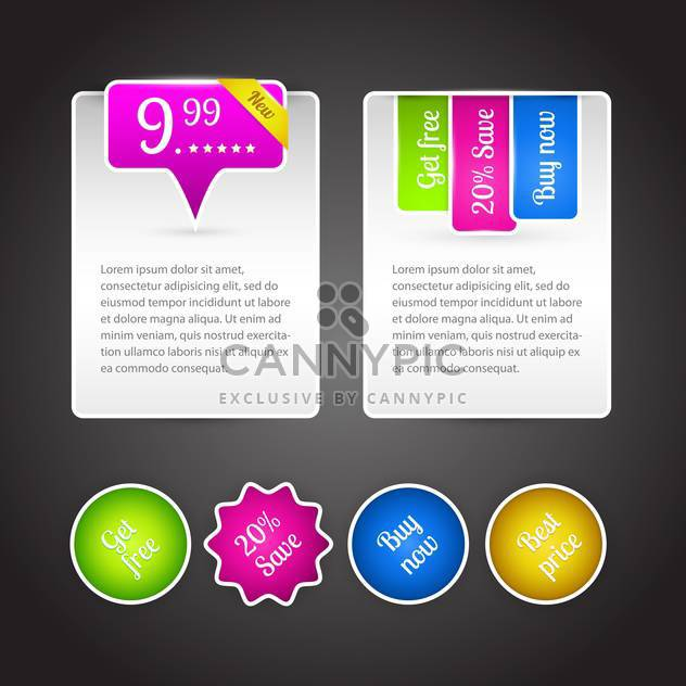 Vector set of colorful banners for sale on dark background - Free vector #126413