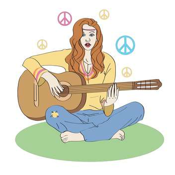 colorful illustration of hippie girl sitting on green grass with guitar - vector gratuit #126443