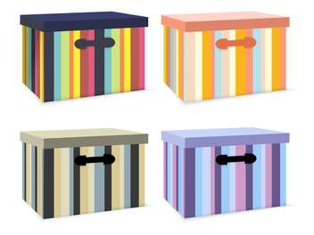 Vector set of colorful striped boxes on white background - vector gratuit #126453