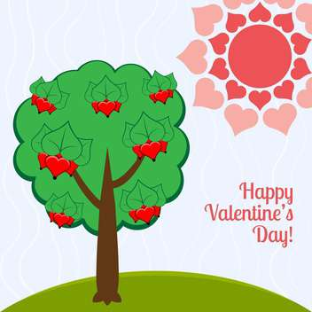 Vector illustration of holiday background with green tree and red hearts - Free vector #126463
