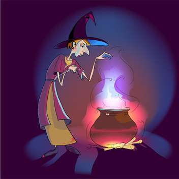 colorful illustration of witch with potion in pot - Free vector #126493