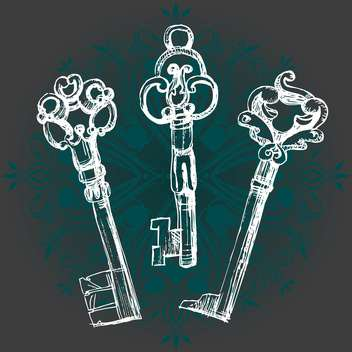 three vector vintage keys on dark green background - vector gratuit #126503
