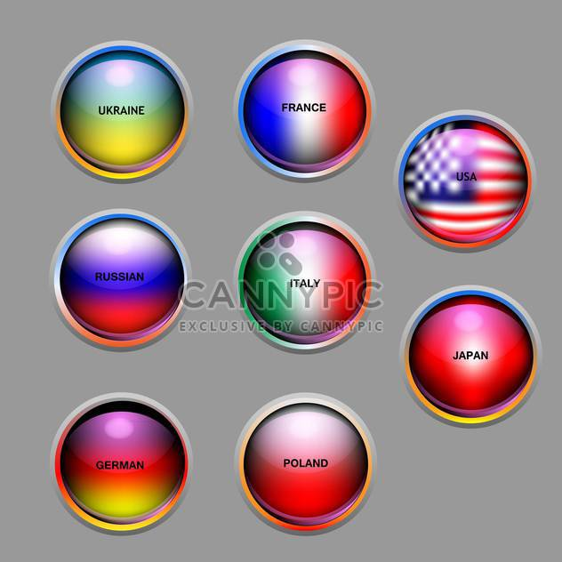 Vector set of education icons with colorful flags - Free vector #126643