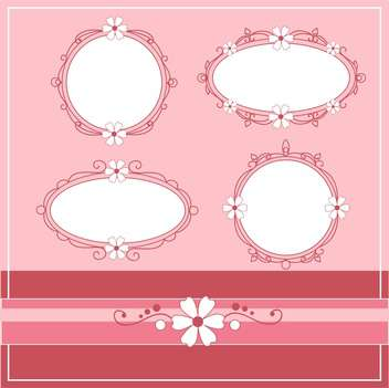 Vector set of vintage frames on pink background with text place - бесплатный vector #126653