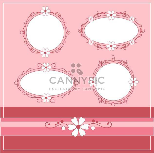 Vector set of vintage frames on pink background with text place - Free vector #126653
