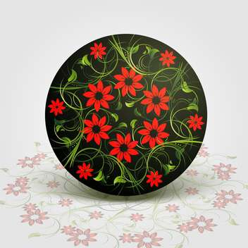 Vector illustration of floral background with red flowers in circle - бесплатный vector #126663