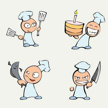 vector collection of cute cartoon chef men on grey background - vector gratuit #126713