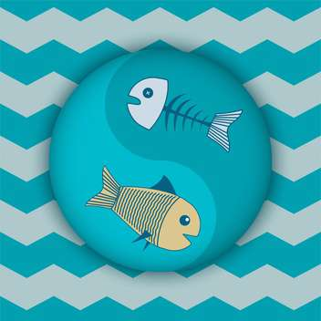 Vector blue color background with fish in circle - vector gratuit #126783