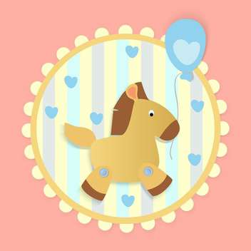 Vector birthday greeting card with horse and hearts - бесплатный vector #126843