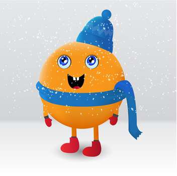 colorful illustration of cute orange fruit cartoon character under falling snow - vector gratuit #126893