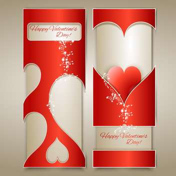 vector banners with hearts for valentine card - vector gratuit #126903