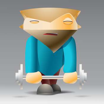 vector illustration of cartoon sportsman with dumbbell on grey background - бесплатный vector #126913