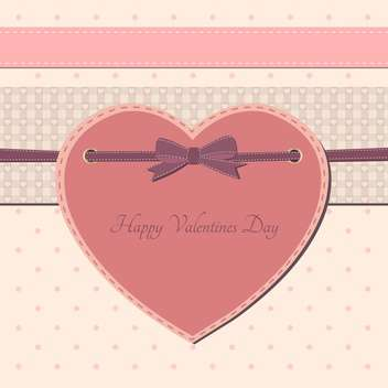 Valentine day greeting card with pink heart and text place - vector gratuit #126973