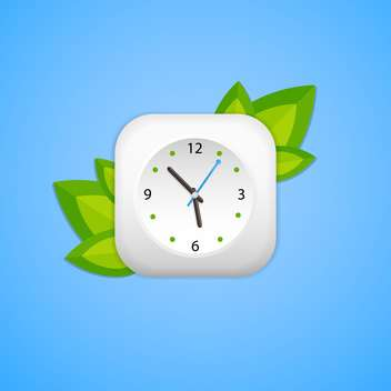 Clock and green leaves on blue background - бесплатный vector #127053