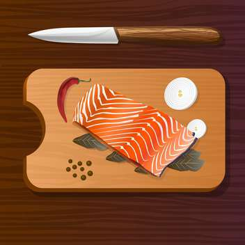 vector illustration of salmon with spices on wooden board - Free vector #127073