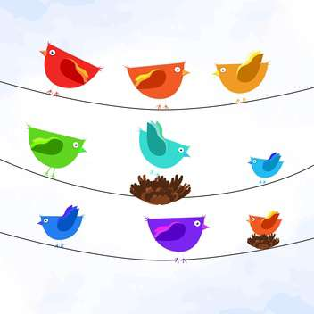 Vector illustration of colorful birds on wires on white background - бесплатный vector #127093