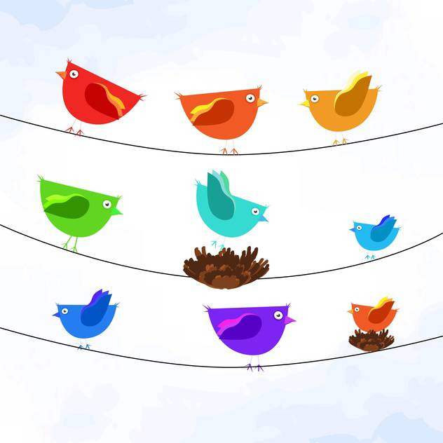 Vector illustration of colorful birds on wires on white background - Free vector #127093