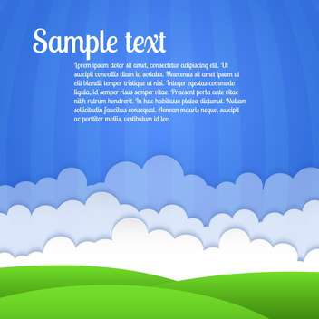 vector landscape with green field and clouds and text place - vector gratuit #127103