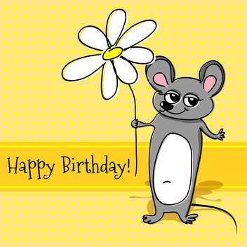 Vector greeting card with mouse holding white flower for birthday - vector gratuit #127113