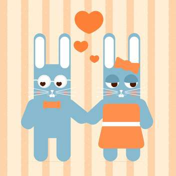 Vector cute couple of rabbit in love for valentine card - vector gratuit #127133