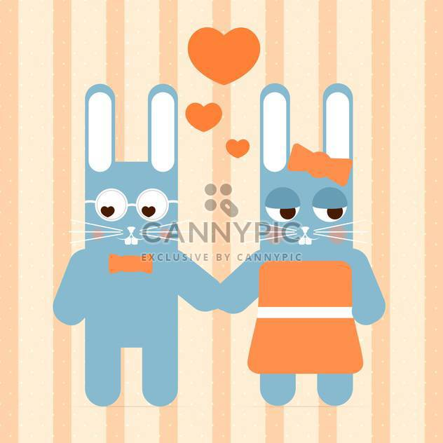 Vector cute couple of rabbit in love for valentine card - Free vector #127133
