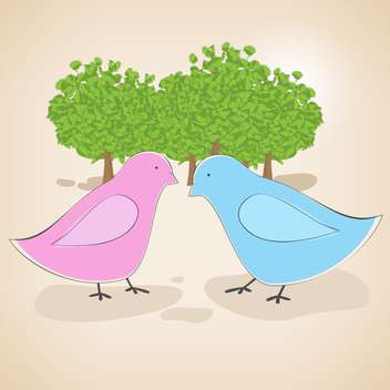 Vector illustration of birds couple in love on pink background - vector gratuit #127163