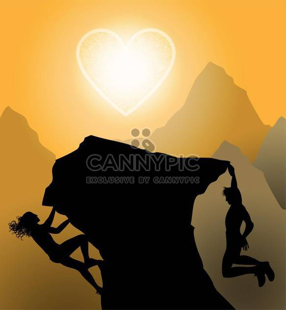 black silhouette of couple climbing on rock with heart shaped sun - Free vector #127223