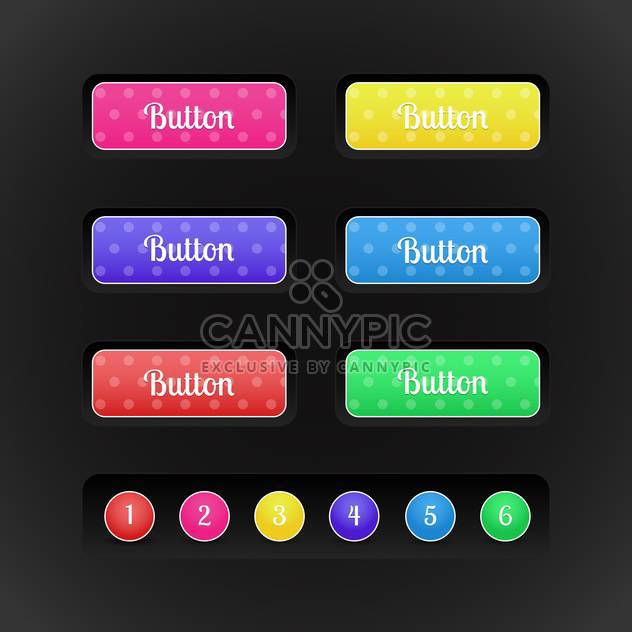 vector buttons with special colored icons and numbers on black background - Free vector #127383