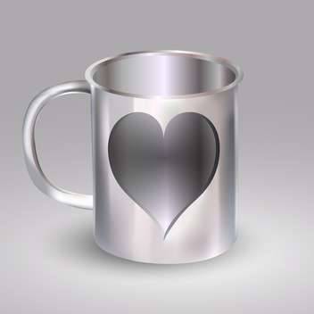 vector illustration of steel cup with heart on grey background - vector gratuit #127403