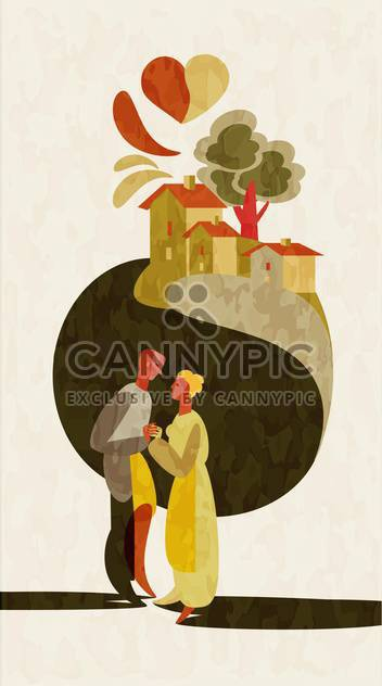 lovely couple holding hands on city background - Kostenloses vector #127513