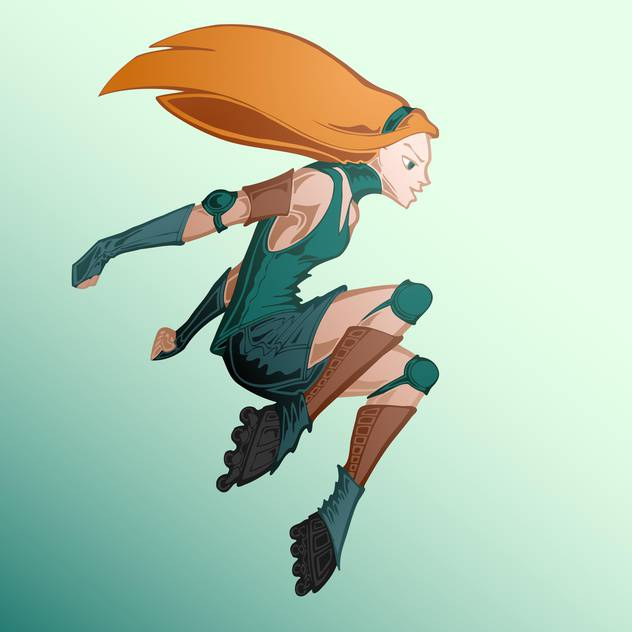 Vector illustration of roller girl on green background - Free vector #127563