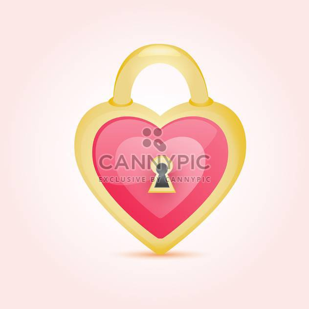 Decorative golden heart shaped lock on pink background - Free vector #127573