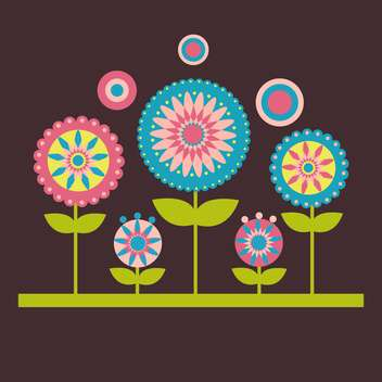 Vector illustration of flowers on dark background - Free vector #127583