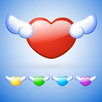 vector set of colorful heart shaped buttons with wings on blue background - Free vector #127603