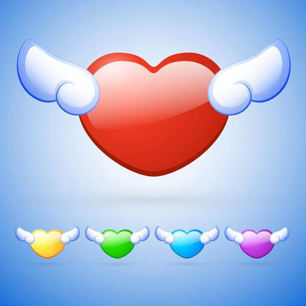 vector set of colorful heart shaped buttons with wings on blue background - бесплатный vector #127603