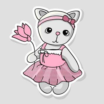 Vector illustration of cute kitten with flowers in hand on grey background - бесплатный vector #127613