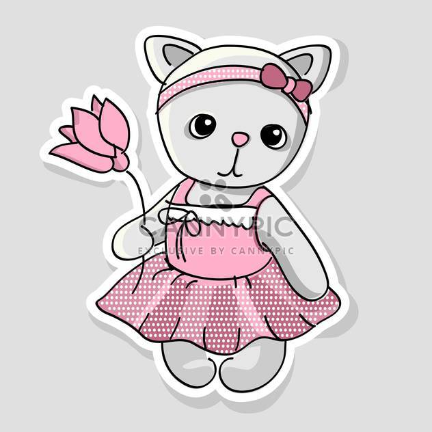 Vector illustration of cute kitten with flowers in hand on grey background - Free vector #127613
