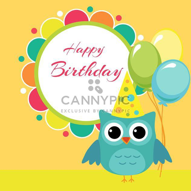 Vector birthday party card with owl and balloons - Free vector #127623