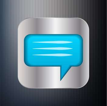 metallic speech bubble icon on grey background - Free vector #127643