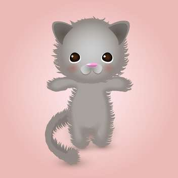 cute grey color kitty on pink background - vector gratuit #127703