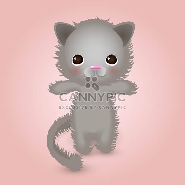 cute grey color kitty on pink background - Free vector #127703
