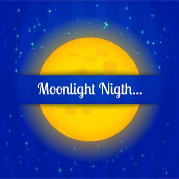 colorful illustration of big yellow moon on blue night sky - vector gratuit #127753